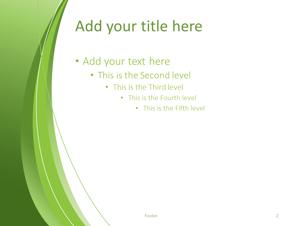Free Green Abstract PowerPoint Template - Title and Content slide