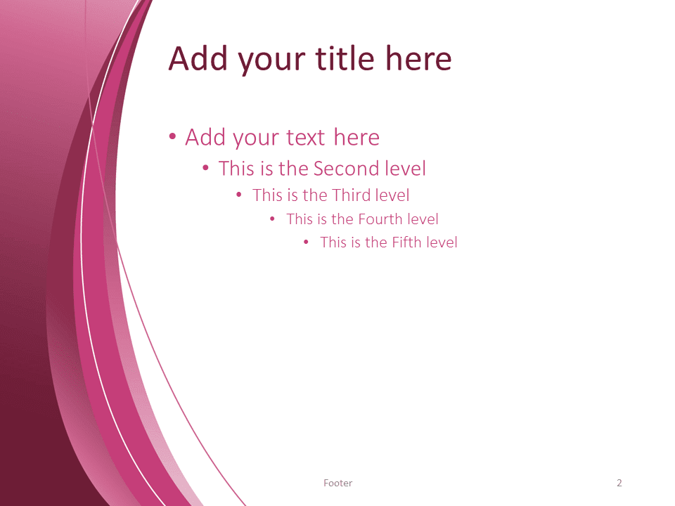 Free Pink Abstract PowerPoint Template - Title and Content slide