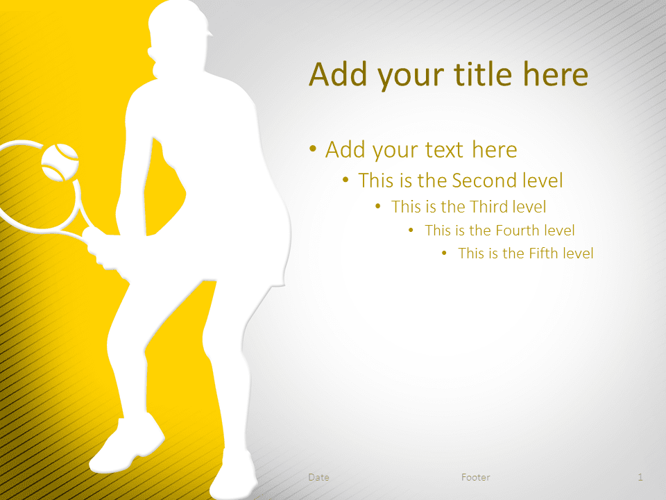Tennis PowerPoint Template Yellow