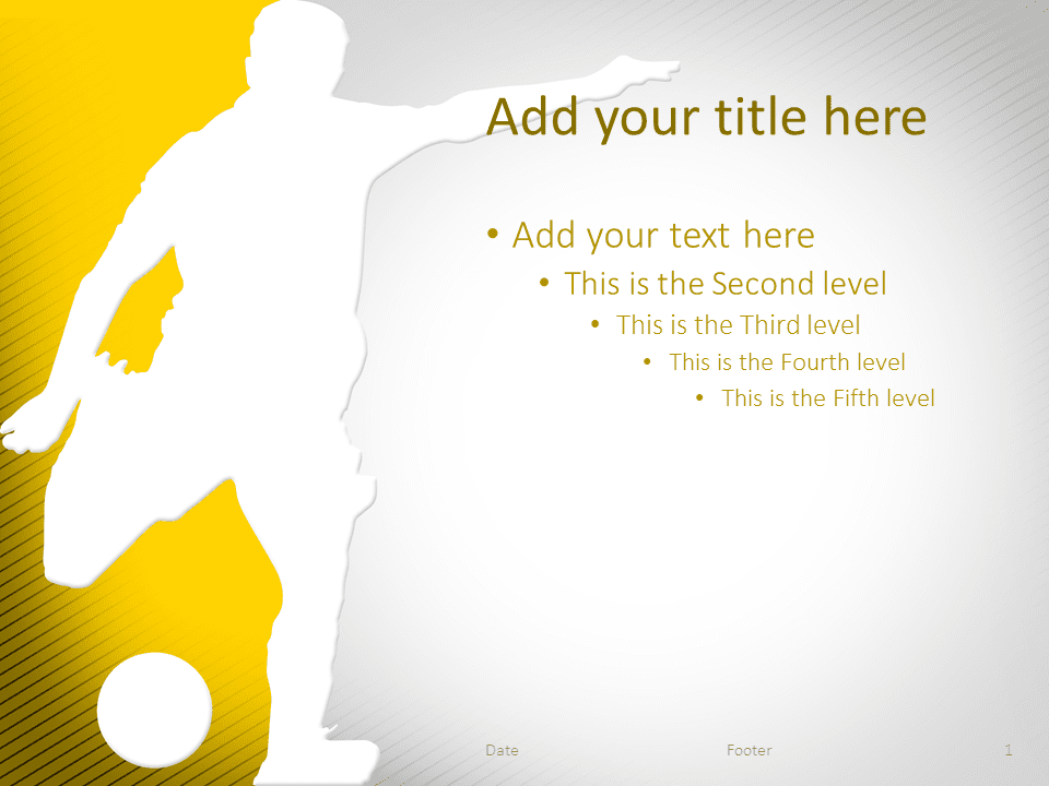 soccer powerpoint template yellow - presentationgo, Powerpoint templates