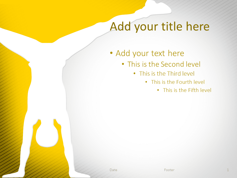 Gymnastics PowerPoint Template Yellow