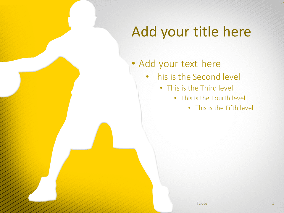 basketball powerpoint template yellow - presentationgo, Modern powerpoint