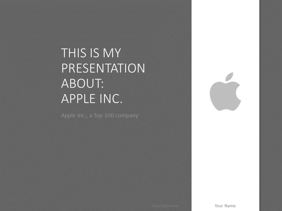 Apple powerpoint template grey for Product design inc