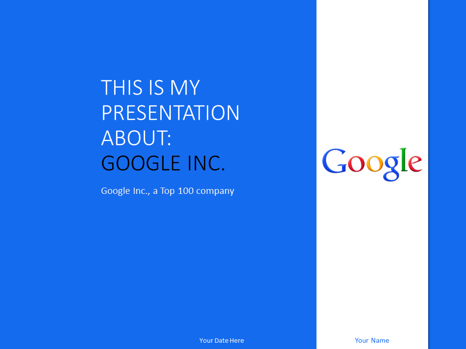Free Google Inc PowerPoint Template Blue