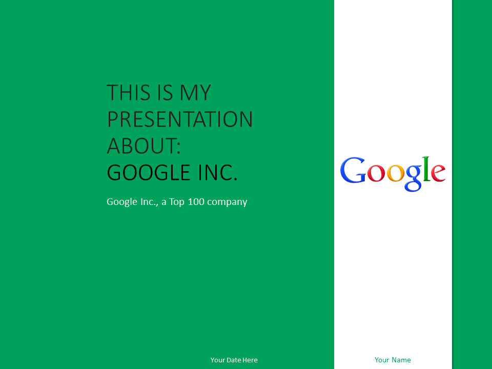 Free Google Inc PowerPoint Template Green