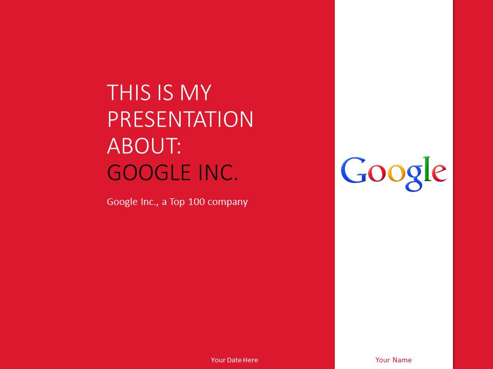 Free Google Inc PowerPoint Template Red