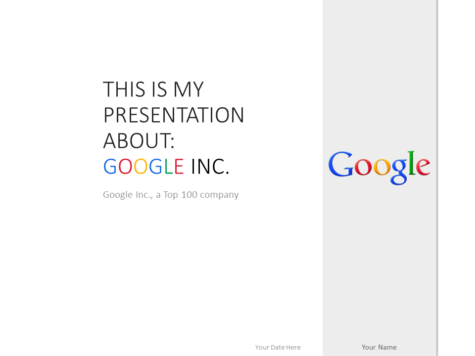 Free Google Inc PowerPoint Template White