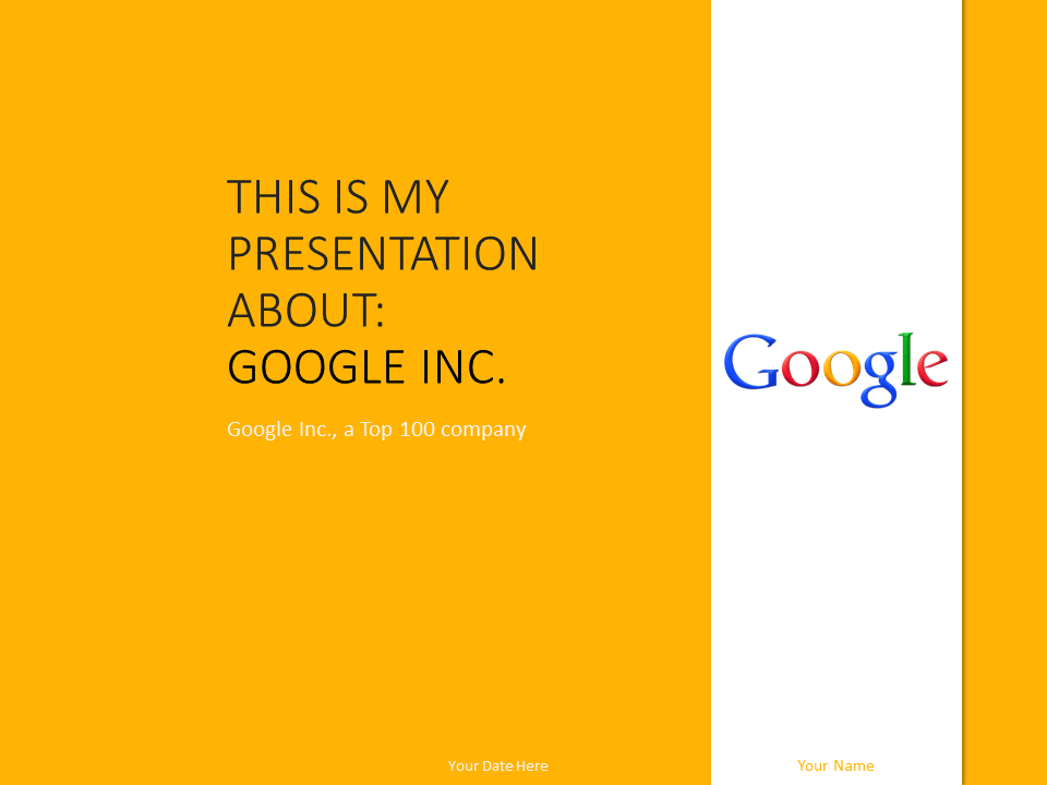 google inc powerpoint template yellow presentationgo