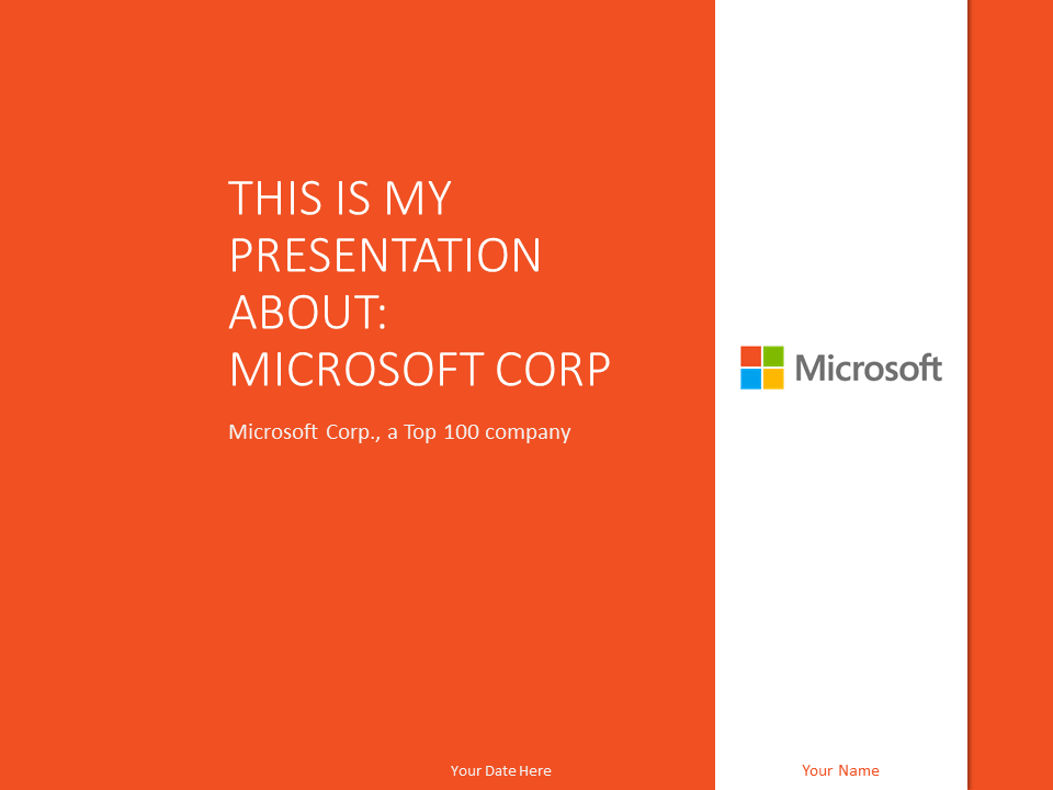 Free Microsoft PowerPoint Template Orange