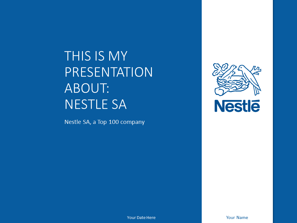 Nestl 233 Powerpoint Template Blue Presentationgo Com