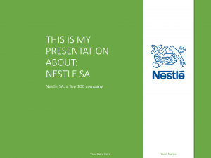 Free Nestlé PowerPoint template with green and white colors.