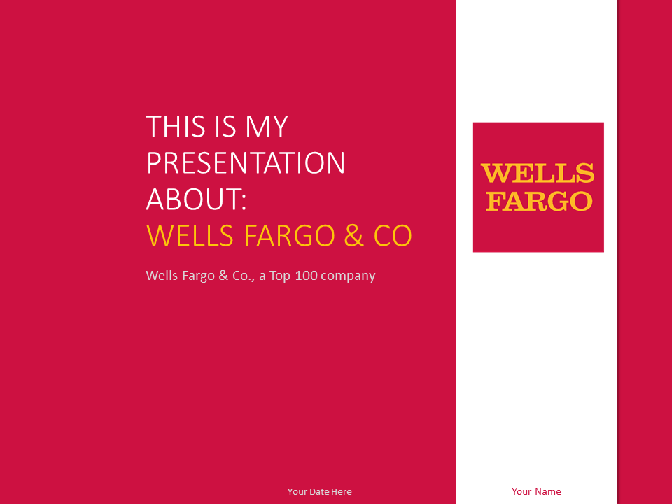 Free Wells Fargo PowerPoint template with red and white colors.