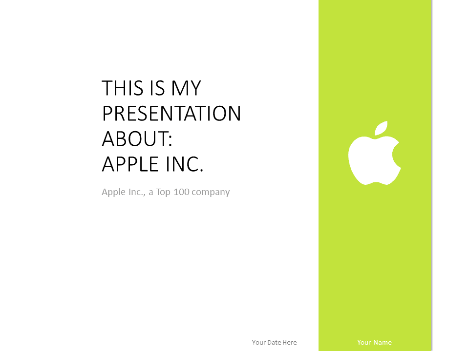 Free Apple PowerPoint Template - Green color