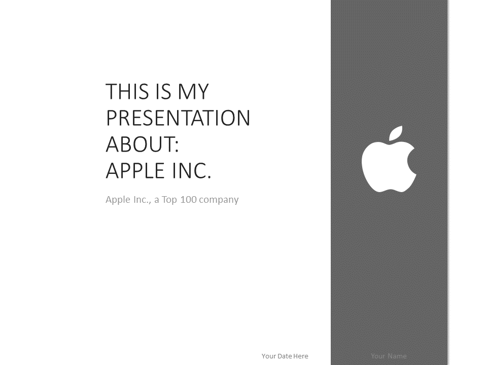 Free Apple PowerPoint Template - Grey color