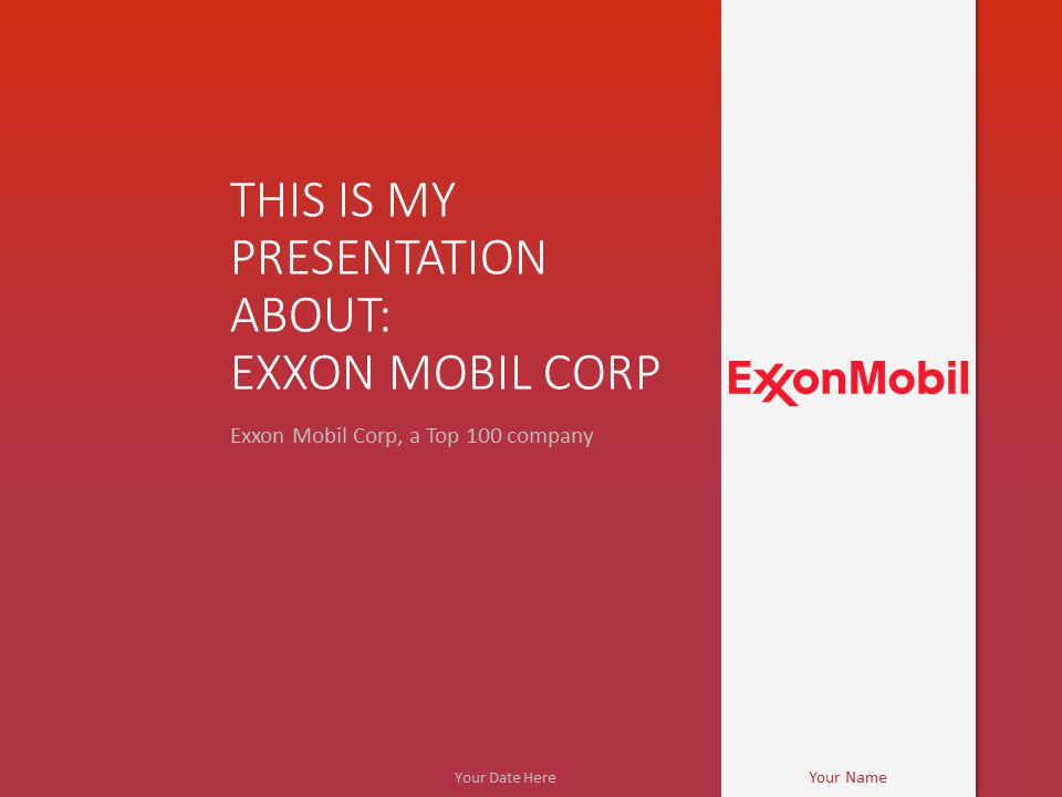 Free ExxonMobil PowerPoint Template Red