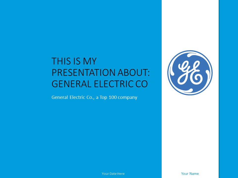 Free General Electric PowerPoint Template Blue