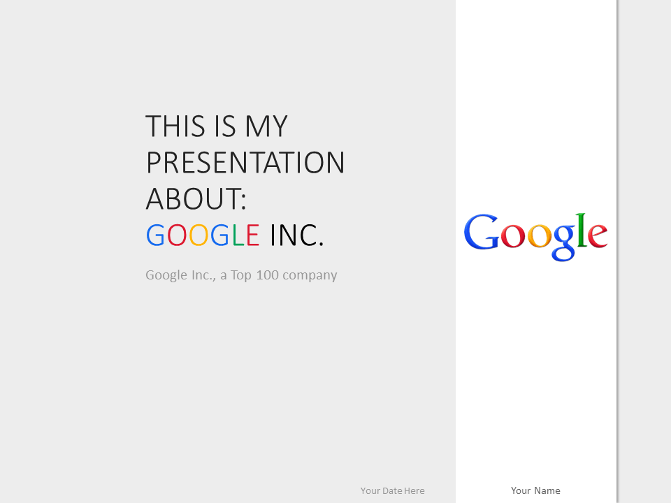 Free Google Inc PowerPoint Template - Gray background
