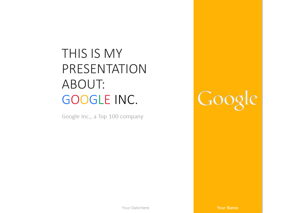 Free Google Inc PowerPoint Template - Yellow
