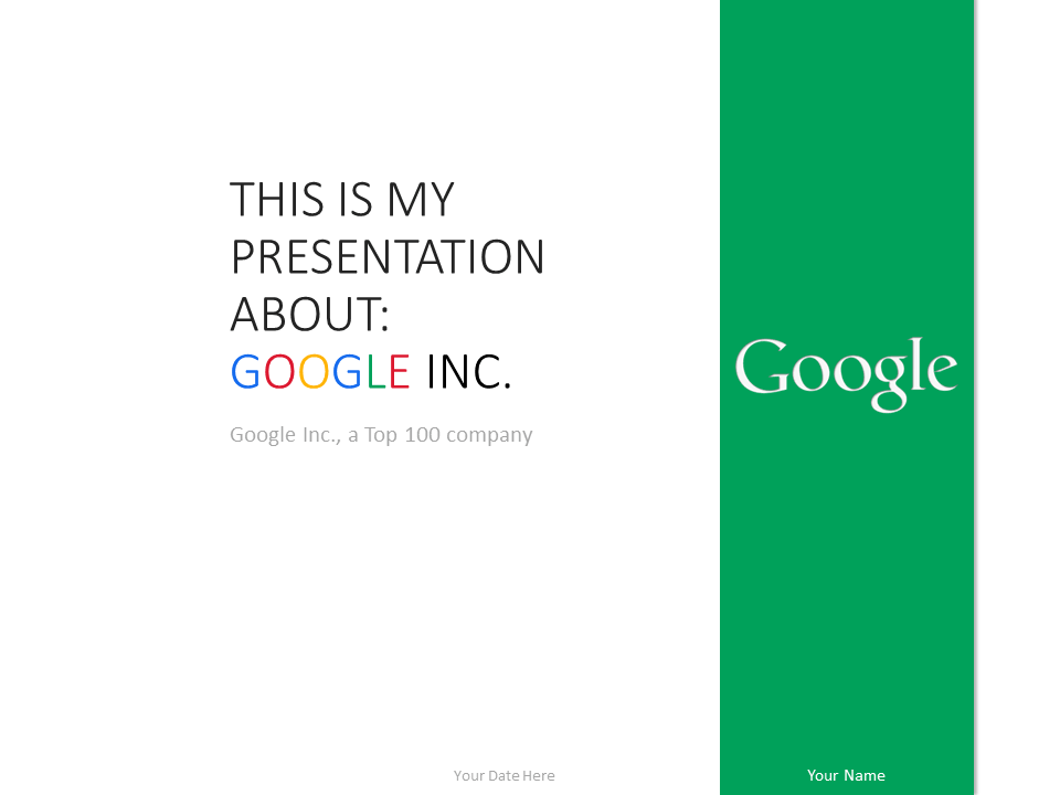 Free Google PowerPoint Template - Green slide