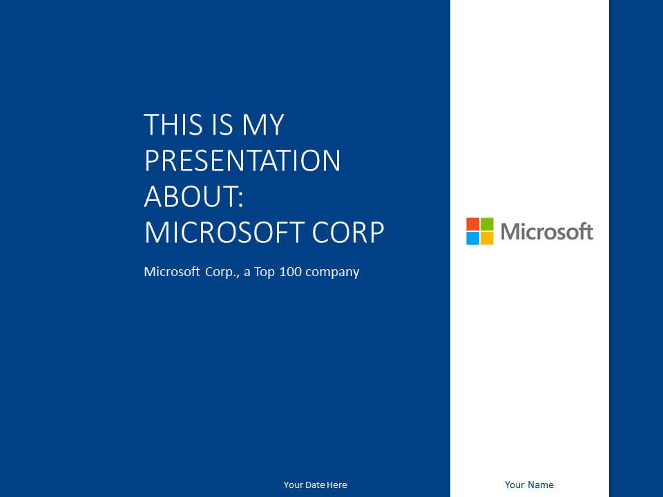 Free Microsoft PowerPoint Template - Dark Blue - Title slide