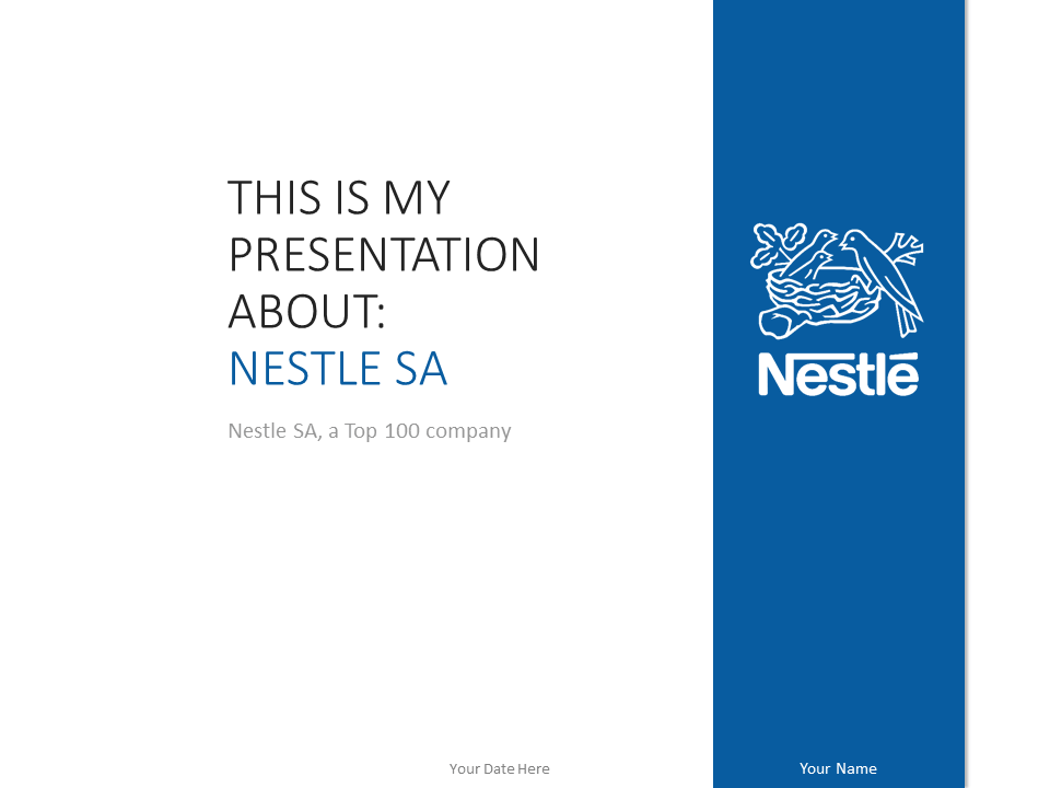 Free Nestle PowerPoint Template Blue
