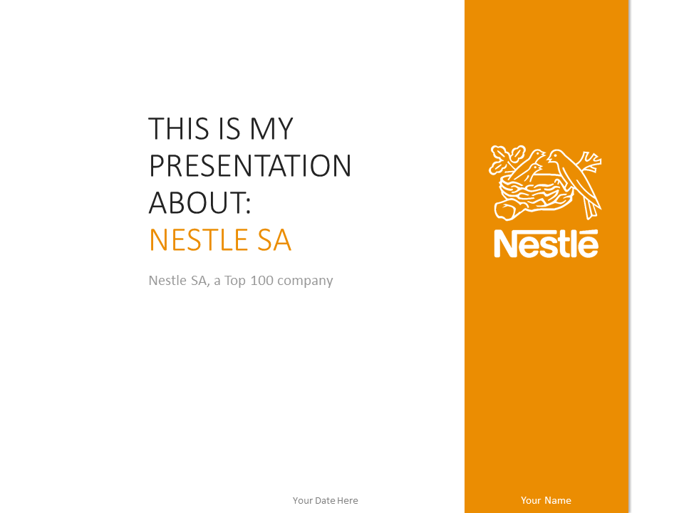 Free Nestle PowerPoint Template Orange