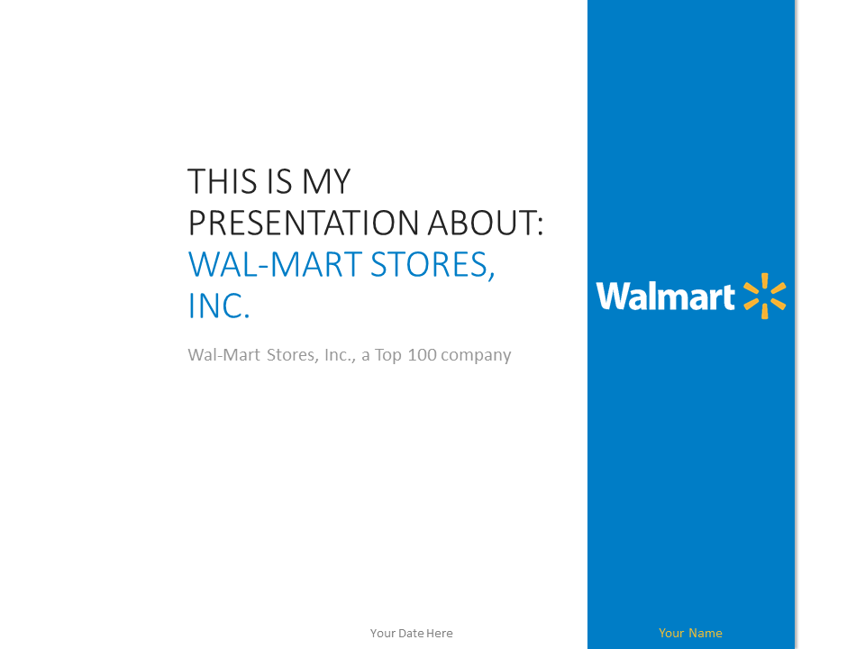 Free Wal Mart PowerPoint template with white and blue colors   Free Walmart  PowerPoint Template. Wal Mart PowerPoint Template   PresentationGO com