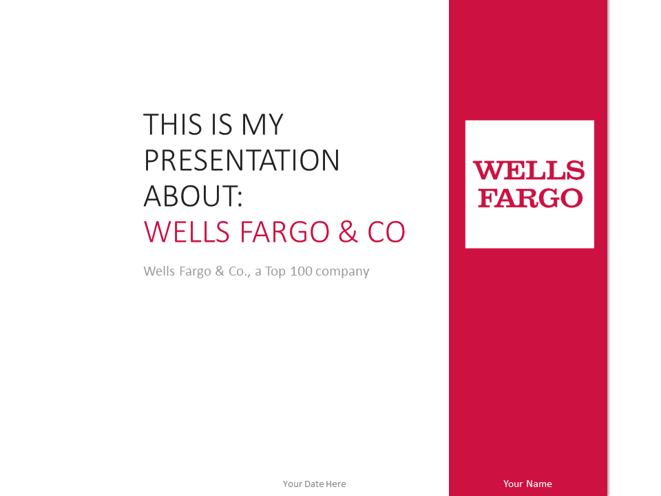 wells fargo powerpoint template red - presentationgo, Powerpoint templates