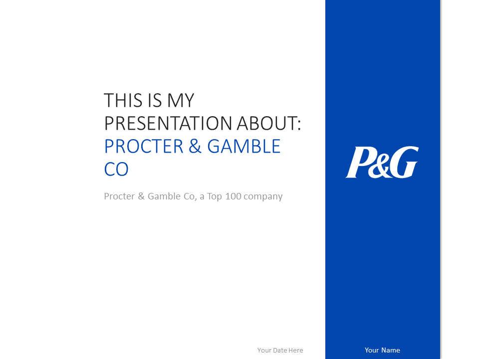 Free Procter & Gamble PowerPoint template with blue and white colors scheme