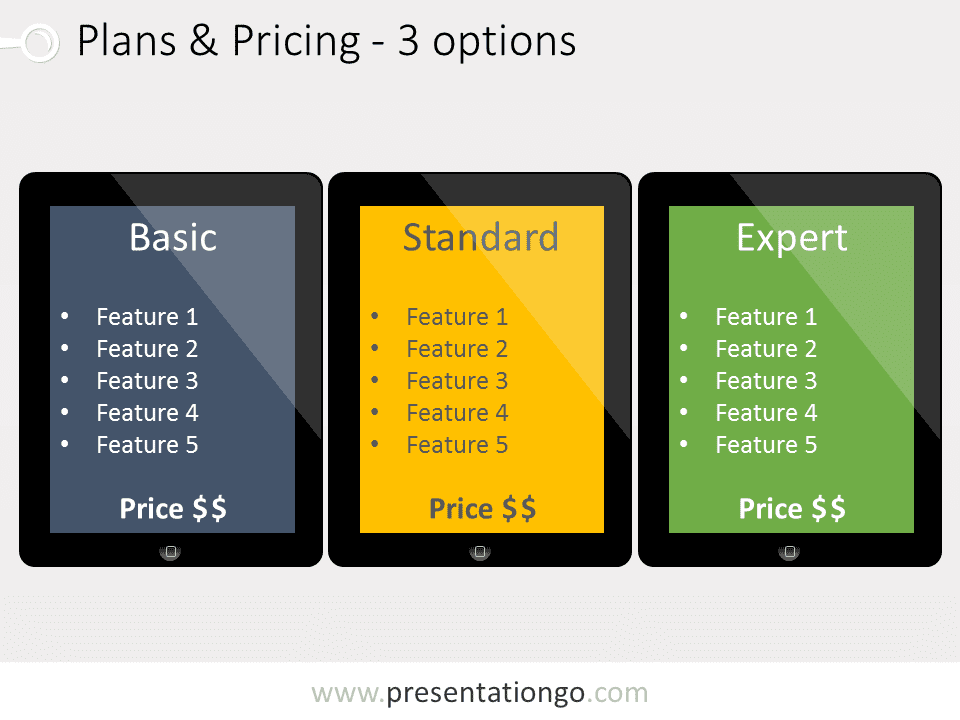 Three pricing plans powerpoint template presentationgo view larger image free pricing plans powerpoint template illustrating three plans embedded in different ipad tablets toneelgroepblik Choice Image