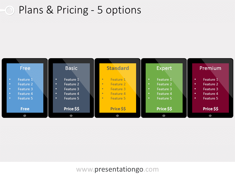 Five pricing plans powerpoint template presentationgo view larger image free pricing plans powerpoint template illustrating five plans embedded in different ipad tablets toneelgroepblik Choice Image
