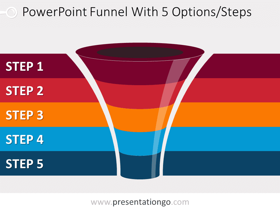Free editable curved PowerPoint funnel diagram with 5 levels