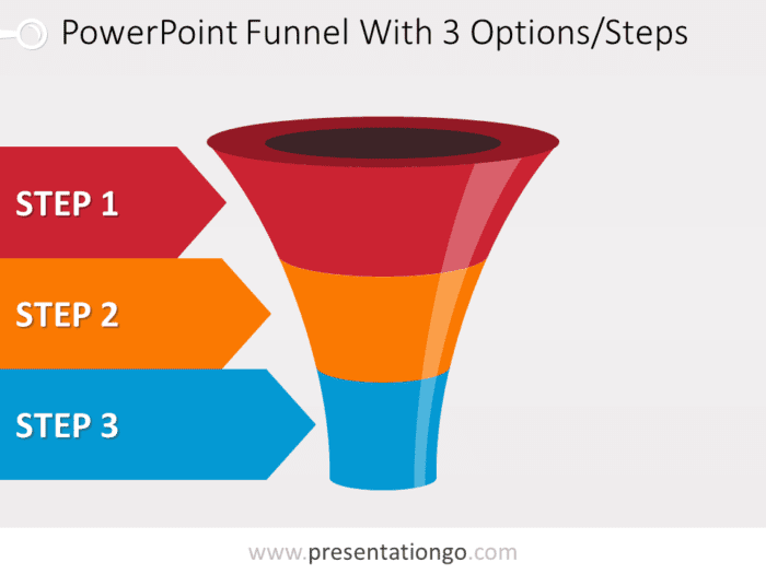 Colorful Powerpoint Funnel With 3 Options
