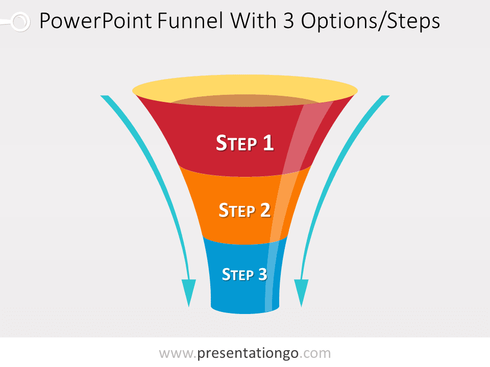 Free editable funnel diagram for PowerPoiint with 3 steps