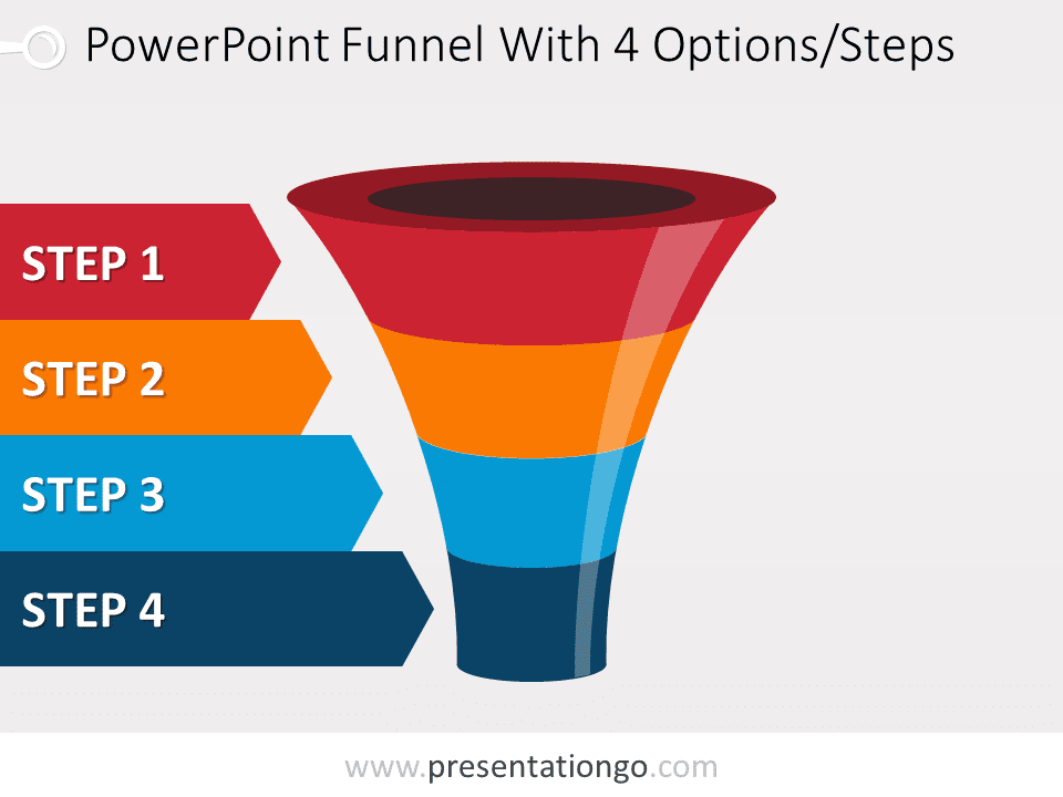 Free editable colorful PowerPoint funnel with 4 options