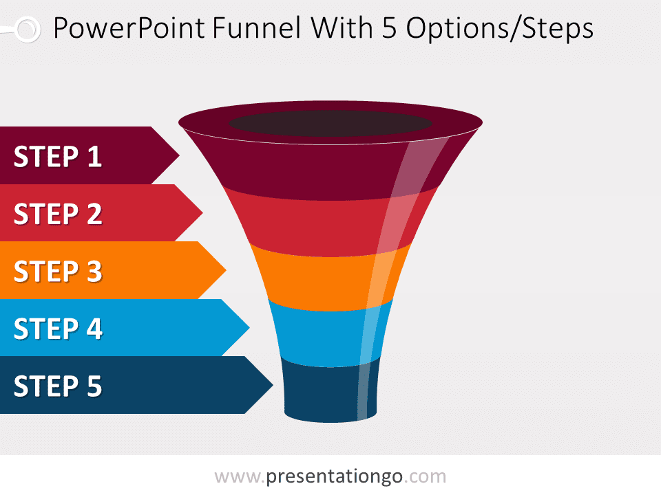 colorful powerpoint funnel with 5 options. Black Bedroom Furniture Sets. Home Design Ideas