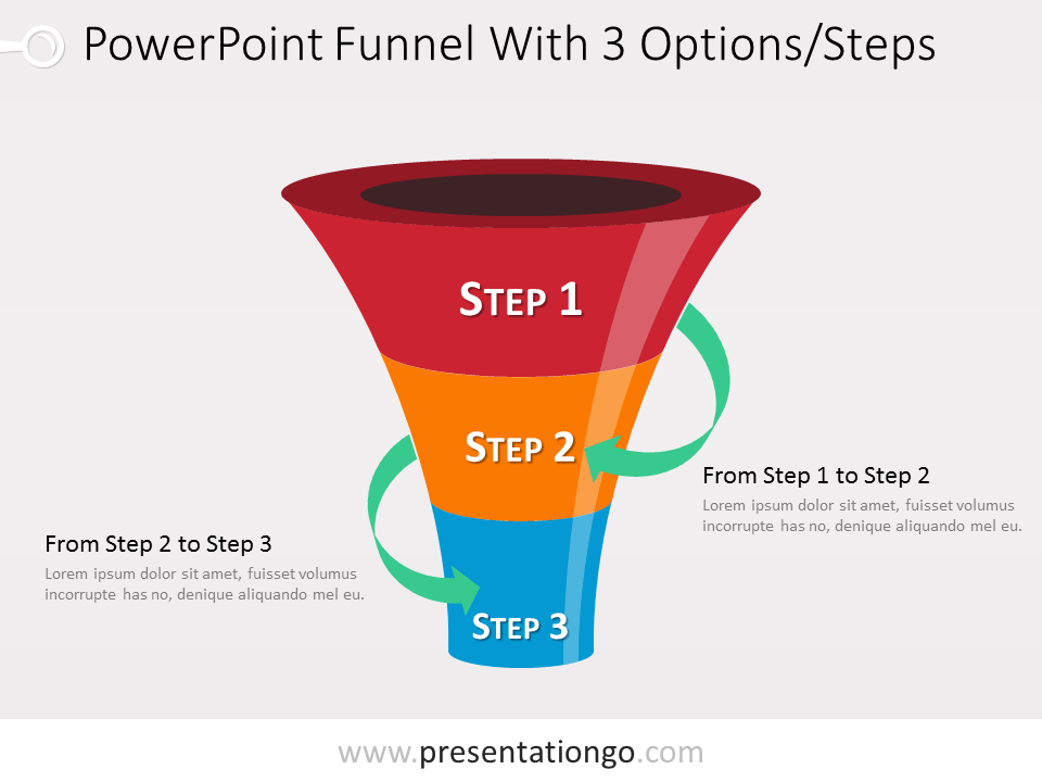Free 3 level PowerPoint Funnel With Green Arrows