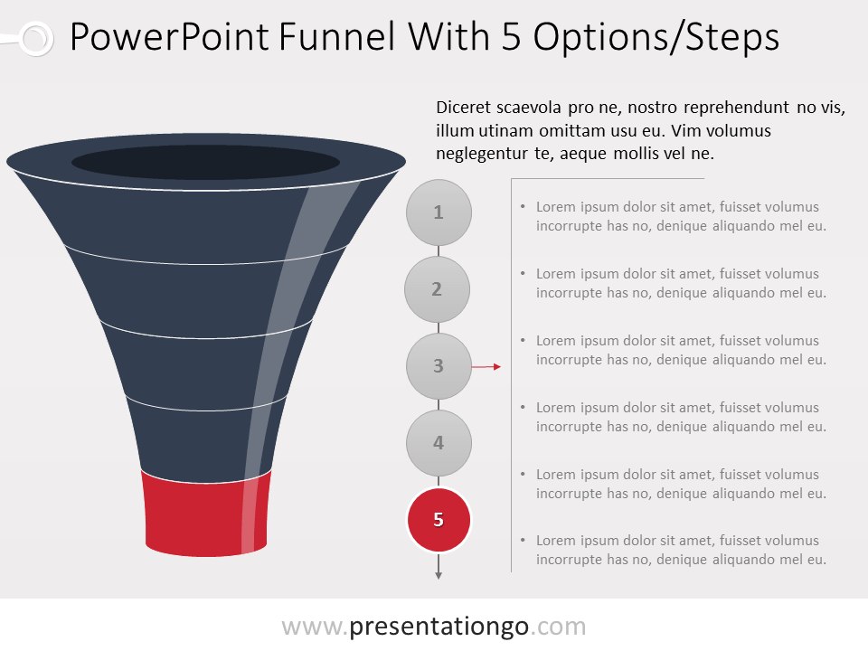 Free Funnel Evolution for PowerPoint with 5 steps - level 5