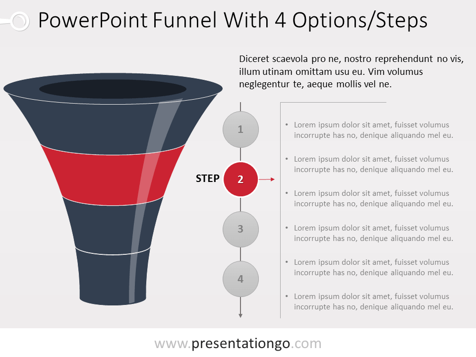 free powerpoint layered funnel process - 4 stages, Modern powerpoint
