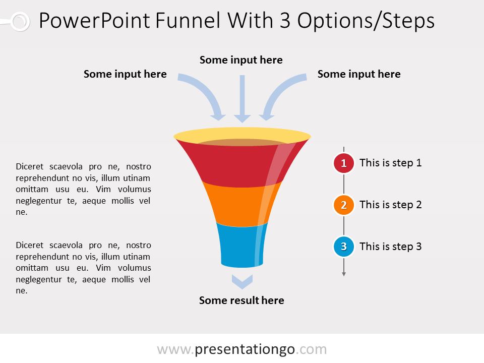 Free PowerPoint Funnel with Input Arrows - 3 steps