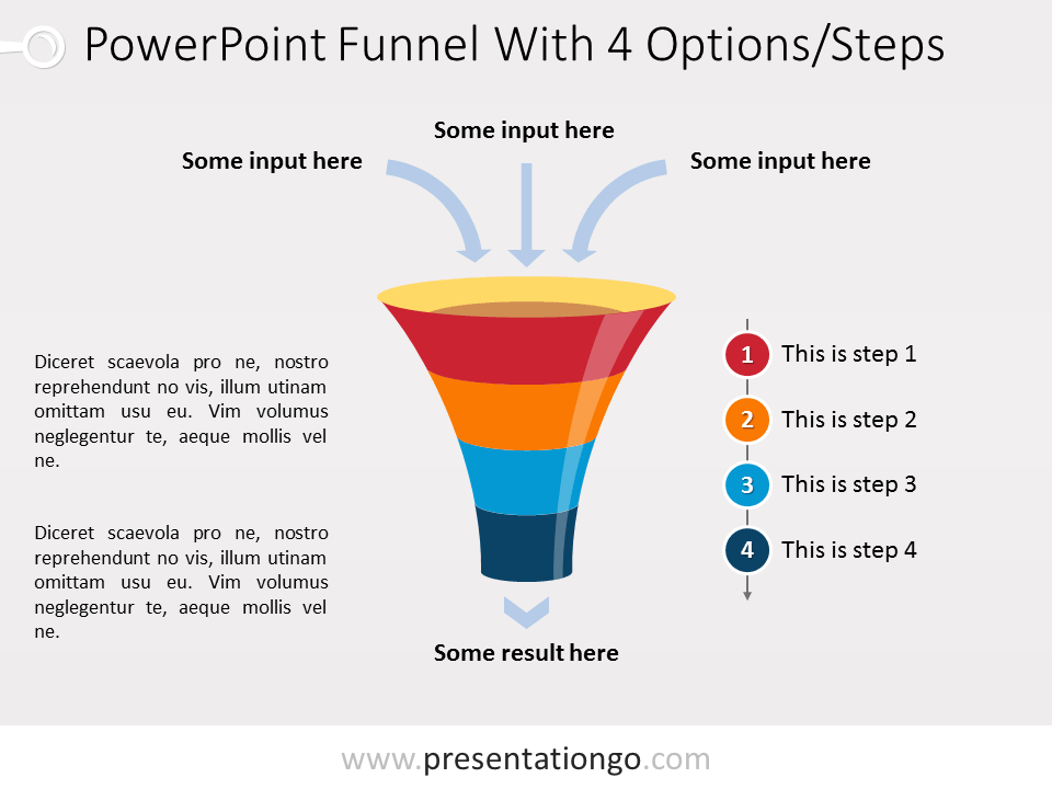 Free PowerPoint Funnel with Input Arrows - 4 steps