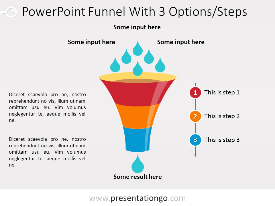 Free PowerPoint Funnel - Input with Drops - 3 steps