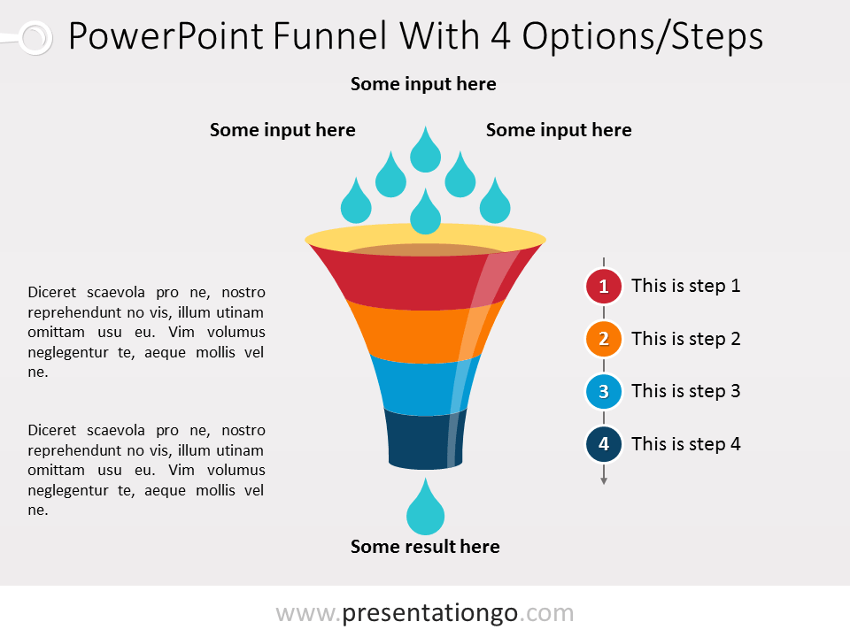 Free PowerPoint Funnel - Input with Drops - 4 steps