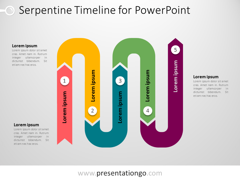 Free Serpentine Timeline PowerPoint Horizontal