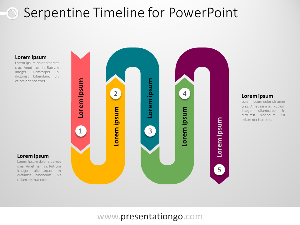 Free PowerPoint serpentine timeline diagram