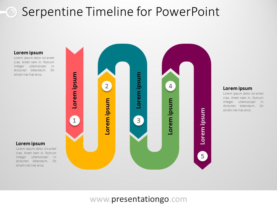 Free PowerPoint serpentine timeline diagram