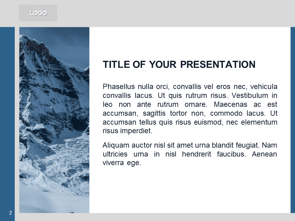 Free Blue PowerPoint Template with photo of Mountains