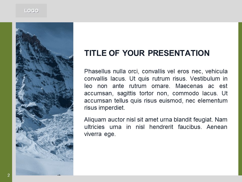 Free Green PowerPoint Template with photo of Mountains