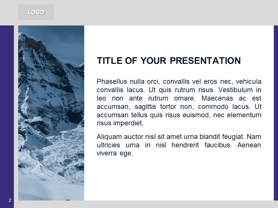 Free Purple PowerPoint Template with photo of Mountains