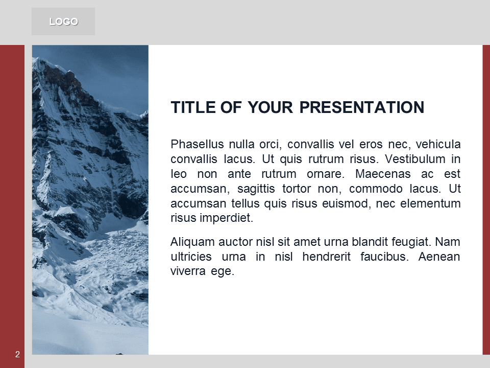 Free Red PowerPoint Template with photo of Mountains